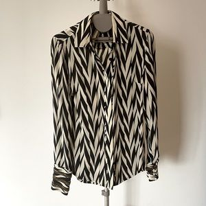 Silk blouse, black&white cocktail blouse